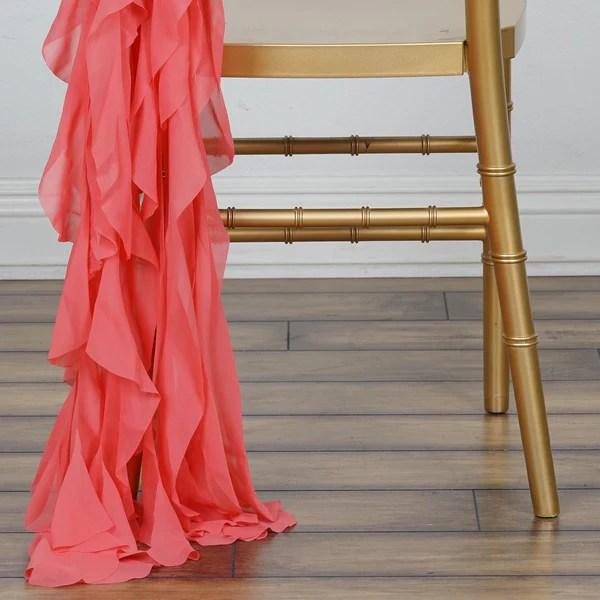Coral Chiffon Curly Chair Sash  eFavorMart