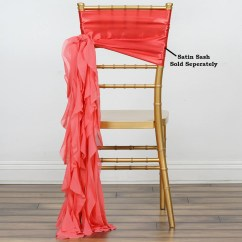 Coral Sashes For Wedding Chairs Tables And Images Chiffon Curly Chair Sash Efavormart