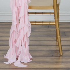 Blush Chair Sashes Covers Event Chiffon Curly Sash Rose Gold Efavormart