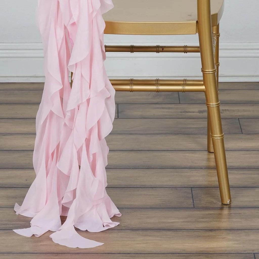 blush chair sashes design using chiffon curly sash rose gold efavormart