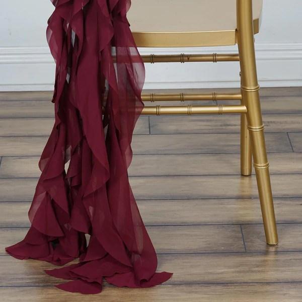 Chiffon Curly Chair Sash  Burgundy  eFavorMart