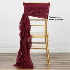 Burgundy Chair Covers Wedding Kitchen Breakfast Table And Chairs Chiffon Curly Sash Efavormart
