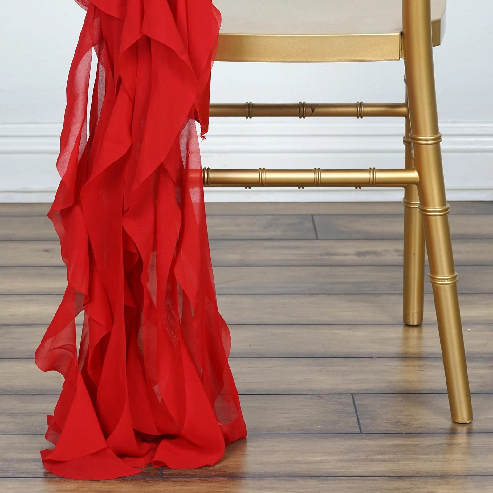 Red Chair Sashes Chiffon Curly Chair Sash Red Efavormart