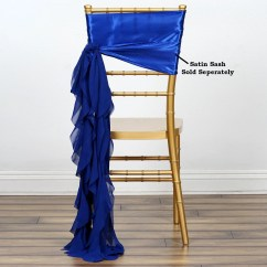Royal Blue Chair Covers Ergonomic Video Chiffon Curly Sash Efavormart