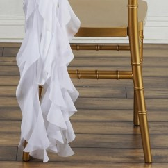White Chair Sashes Gentlemans Chiffon Curly For Catering Wedding