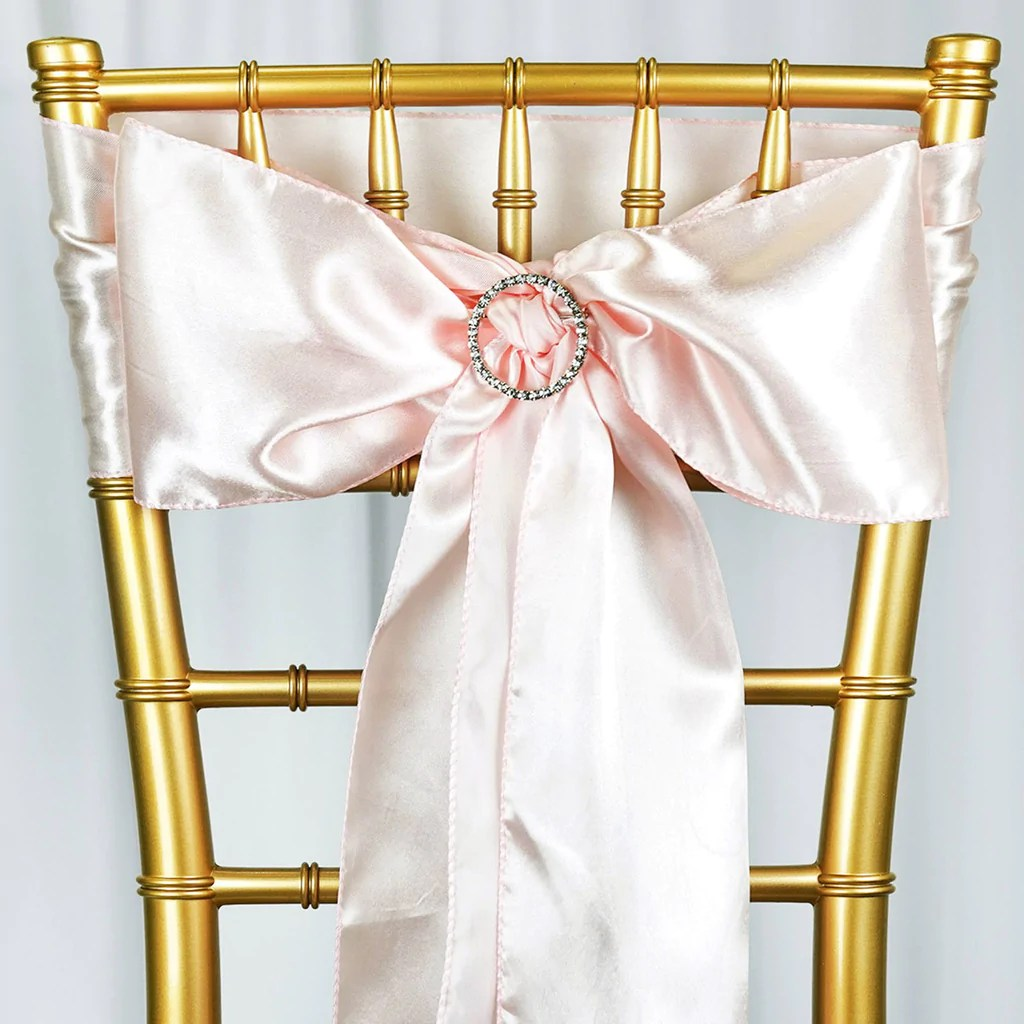blush chair sashes wicker lounge chairs pool 5 pcs satin tie bows catering wedding