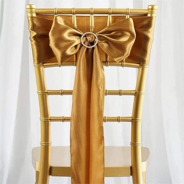 bulk satin chair covers round back living room chairs wholesale sashes efavormart 5 pack 6 x106 gold sash