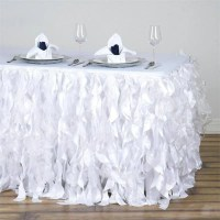 17FT White Curly Willow Taffeta Table Skirt | eFavorMart