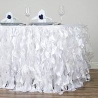 21FT White Curly Willow Taffeta Table Skirt | eFavorMart