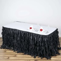 17FT Black Curly Willow Taffeta Table Skirt | eFavorMart