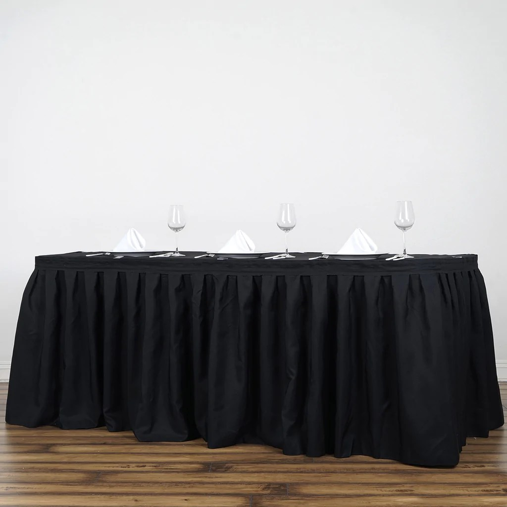 2379dc6fafa4 21ft Black Pleated Polyester Table Skirt Efavormart - Year of Clean ...