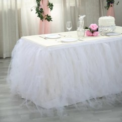 Folding Chair Covers Wholesale Ergonomic Taiwan 21ft 8 Layer Tulle Tutu Pleated Table Skirts - White | Efavormart