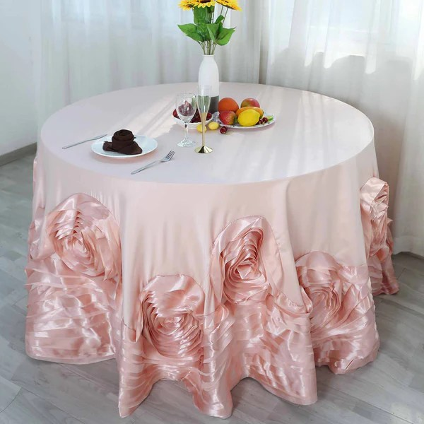 120 Large Rosette Round Lamour Satin Tablecloth For