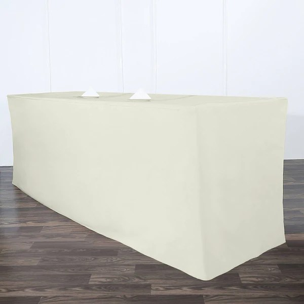Ivory Fitted 8 Feet Tablecloths  eFavorMart