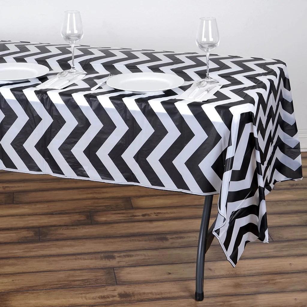 disposable plastic chair covers for parties milo baughman lounge chevron vinyl tablecloth black 54