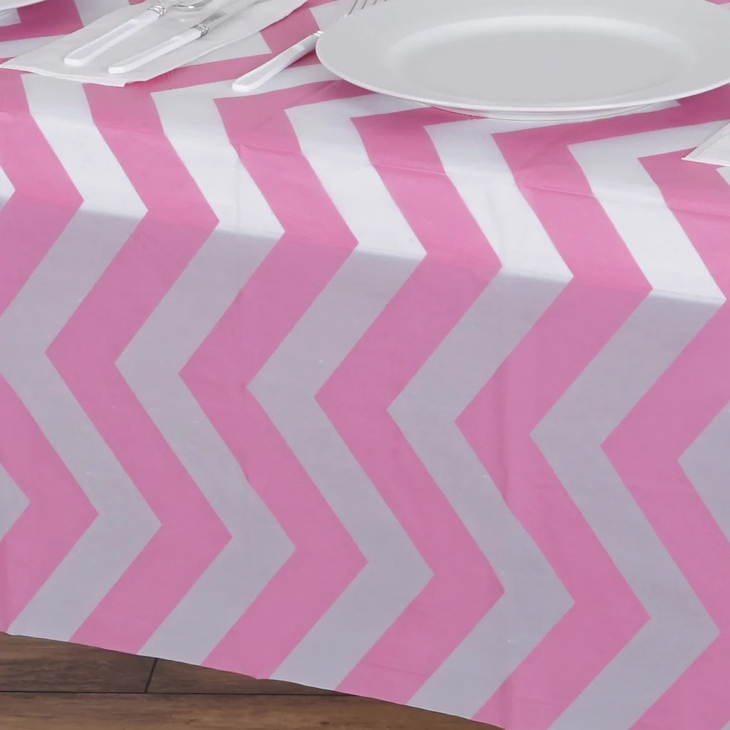 disposable plastic chair covers for parties potty adults chevron vinyl tablecloth pink 54 quot x