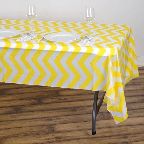 54x108 Yellow Wholesale Disposable Waterproof Chevron