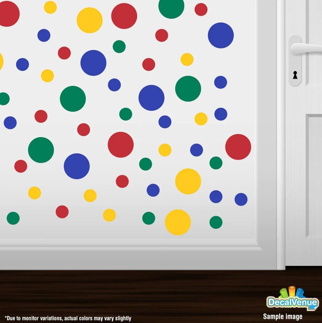 pic Blue Yellow Polka Dots red yellow blue green polka dot circles wall decals
