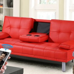 Faux Leather Sofa Bed Uk Black Corner London Capri 3 Seater With Bluetooth Speakers Discountsland Co