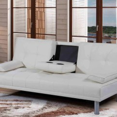 Faux Leather Sofa Bed Uk Purple Couch Capri 3 Seater With Drinks Holder Black White Discountsland Co