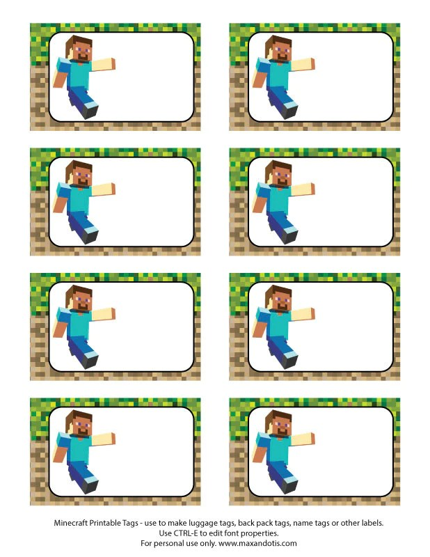 Printable Rectangle Tags Labels Minecraft Editable Pdf Max Otis Designs