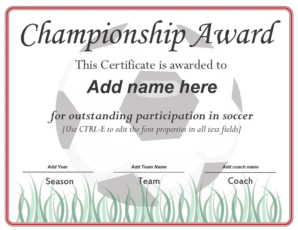Printable Football Certificates And Recognition