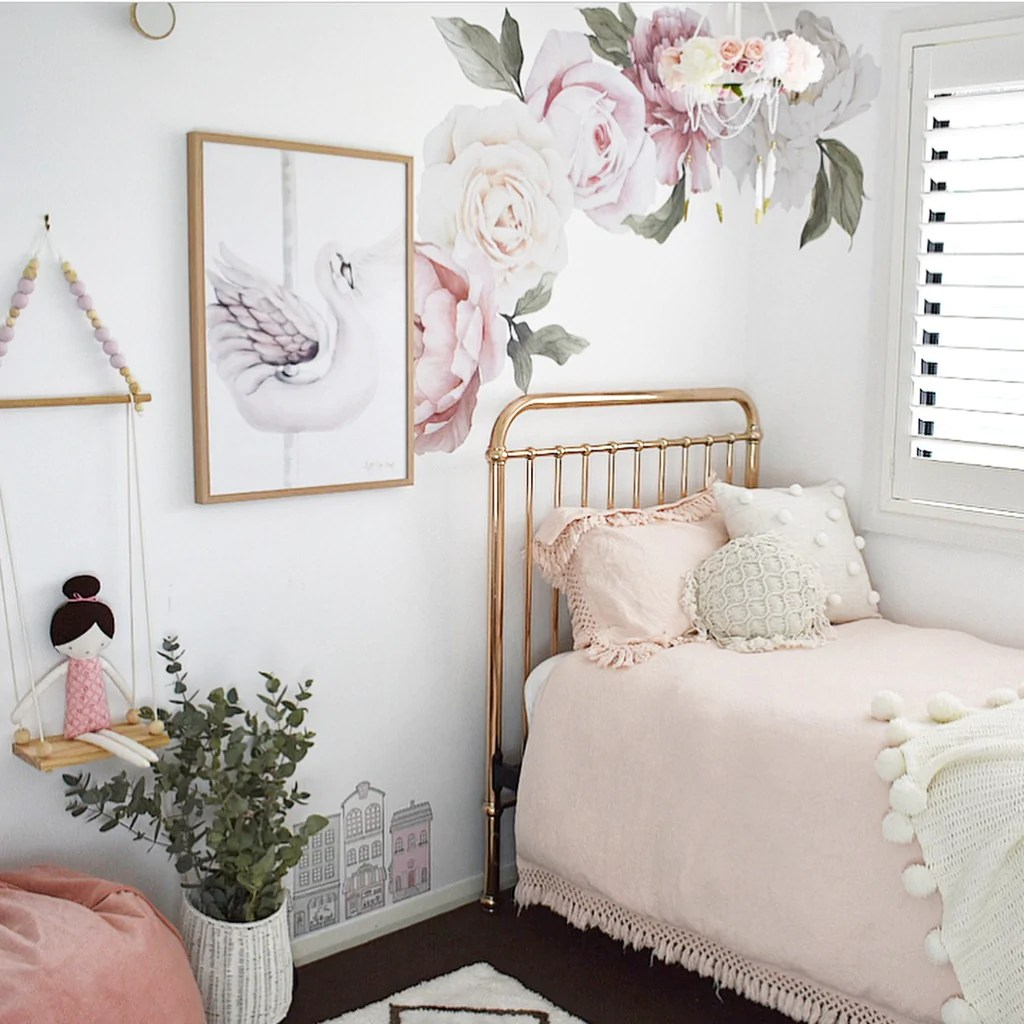 Baby Girl Nursery Flower Wallpaper Classic Pink Peony Amp Rose Wall Decals Ginger Monkey