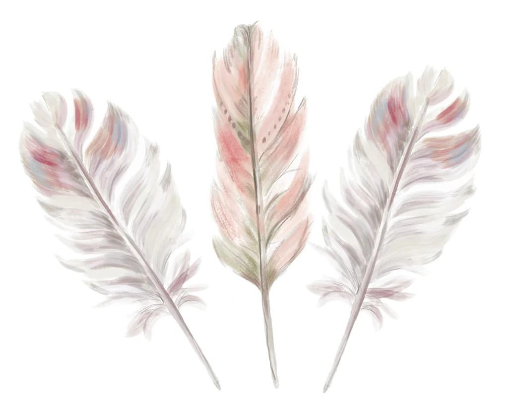 Hd Wallpaper Little Girls Wedding Boho Pink Feather Set X 3 Wall Decals Ginger Monkey