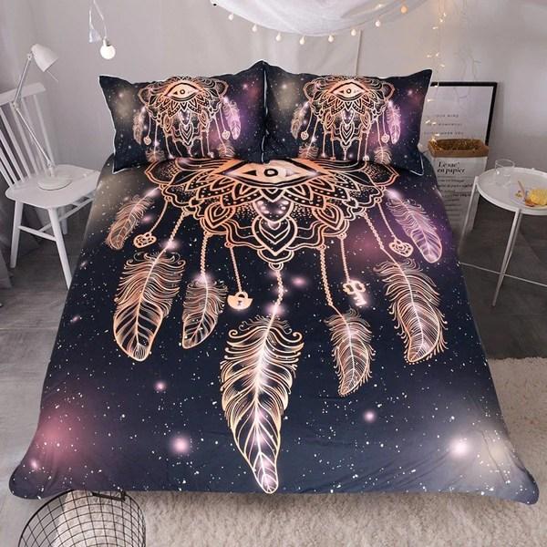 Dreamcatcher PurpleBlack Bedding Set 3pcs  wolvestuff