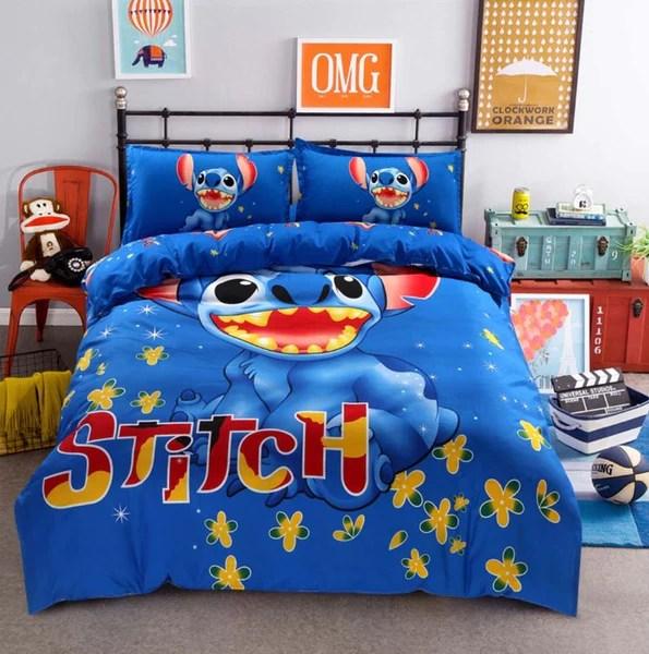 disney stitch boys bedding sets duvet cover blue bed linen kids bedding sets twin queen size