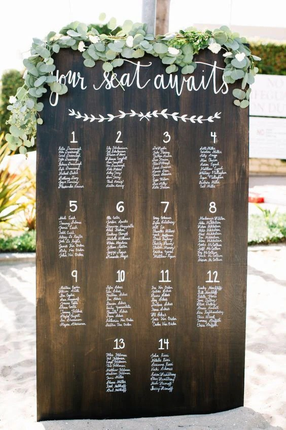 Seating chart wedding sign rustic wooden board heart and hand also rh theheartandhand