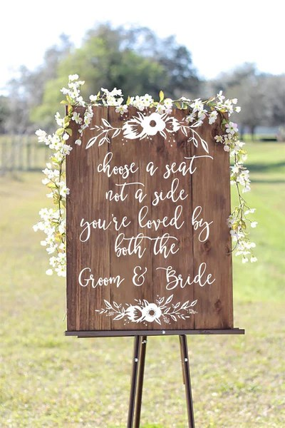 Choose  seat not side you  re loved by both the groom and bride we heart hand also rh theheartandhand