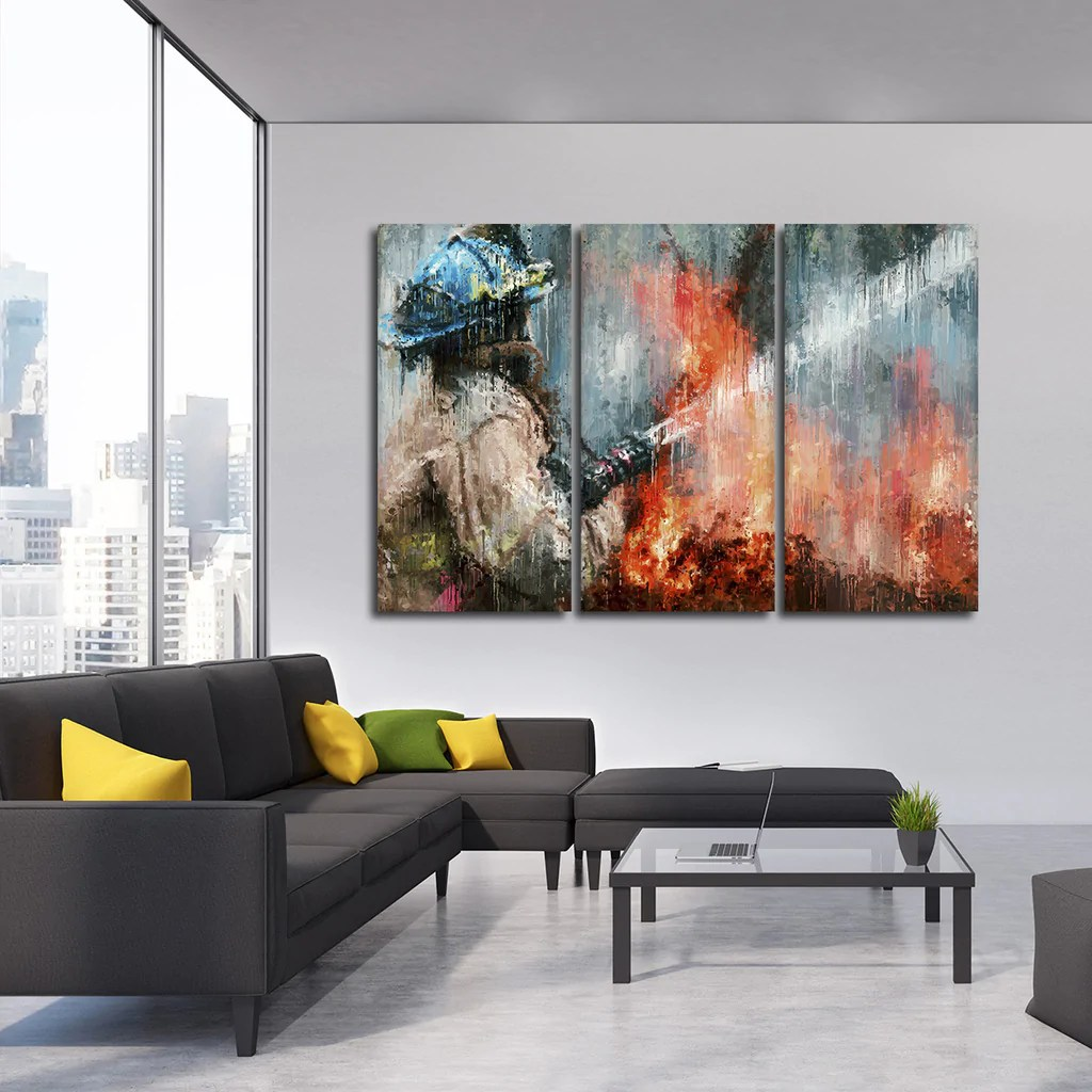 Abstract Firefighter Multi Panel Canvas Wall Art