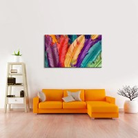 Feathers In Colors Multi Panel Canvas Wall Art | ElephantStock