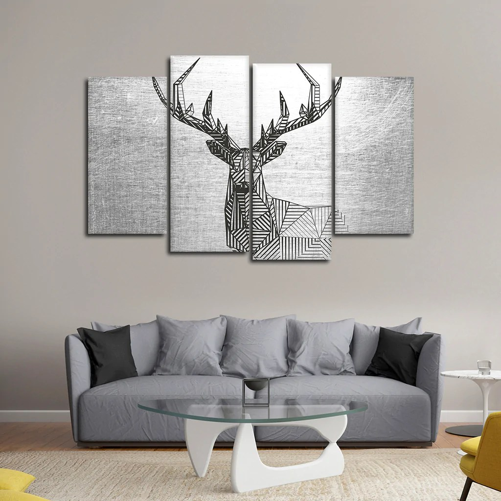 Geometric Deer Multi Panel Canvas Wall Art Elephantstock