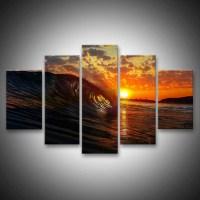 Wave At Sunset Multi Panel Canvas Wall Art | ElephantStock