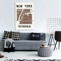 New York Map Multi Panel Canvas Wall Art | ElephantStock