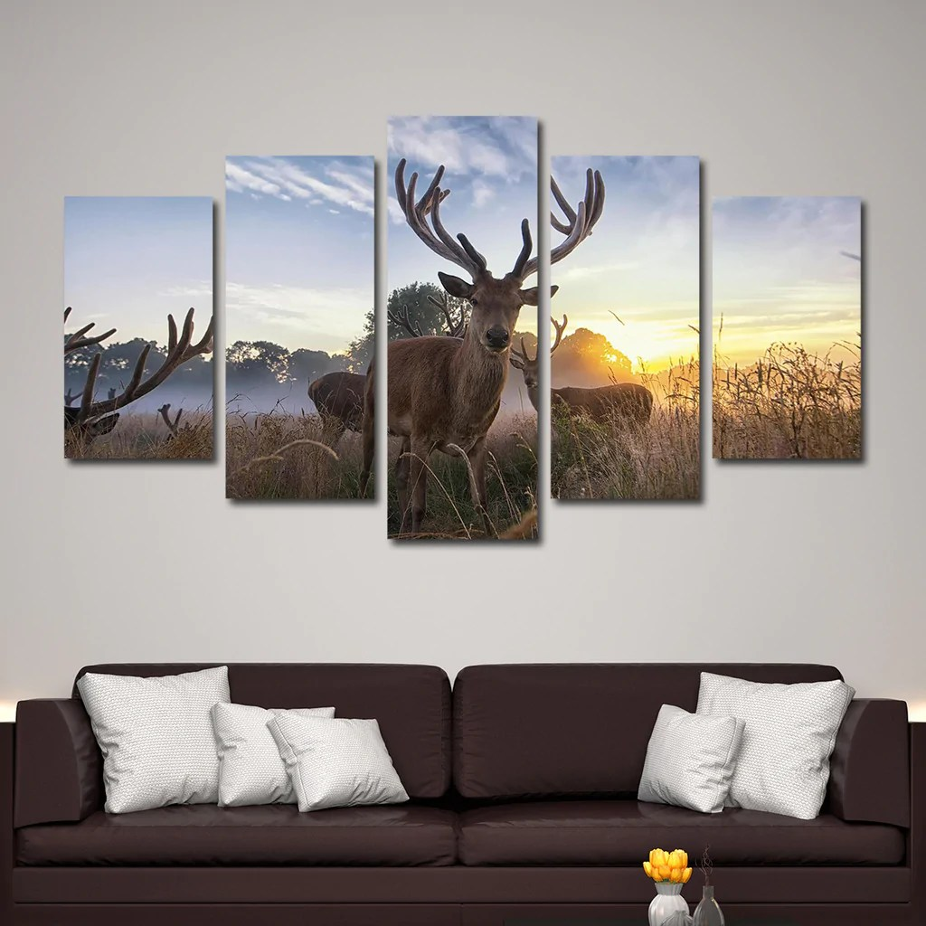 Pursuing White Tail Multi Panel Canvas Wall Art Elephantstock