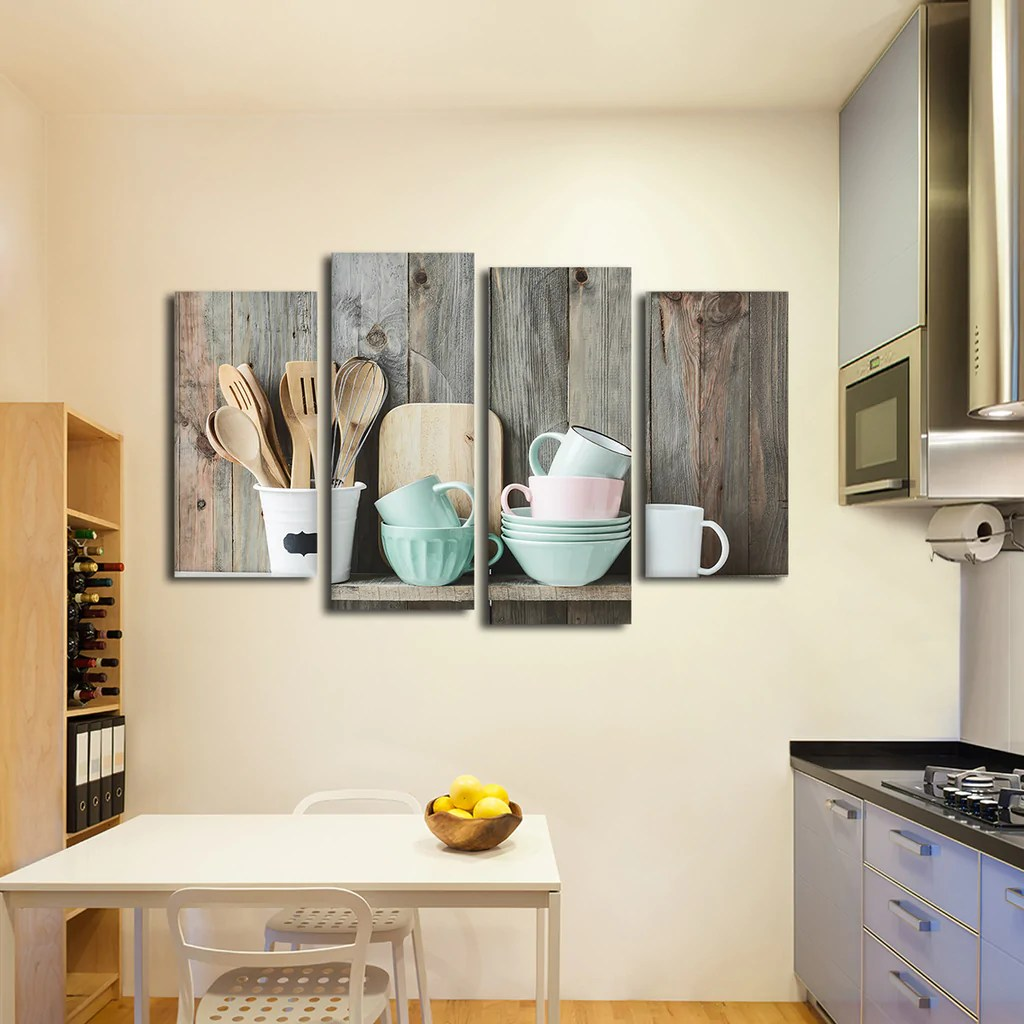Shabby Chic Kitchen Multi Panel Canvas Wall Art