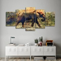 Textured Elephant In Botswana Multi Panel Canvas Wall Art ...