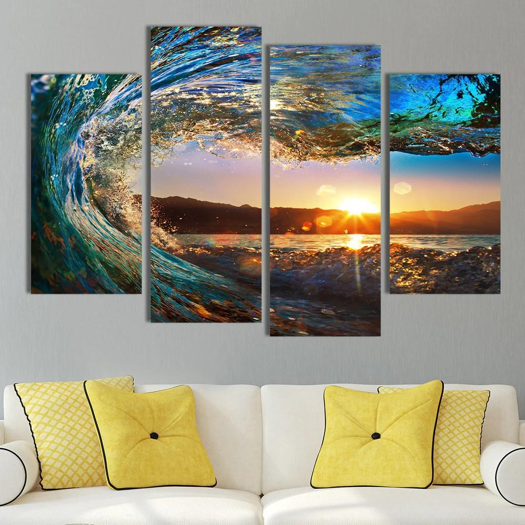 Great Wave Multi Panel Canvas Wall Art Elephantstock