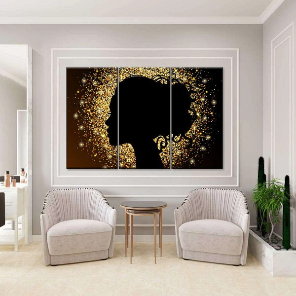 Glittered Woman Silhouette Multi Panel Canvas Wall Art