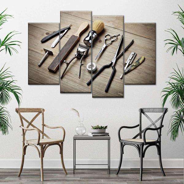 Barber Shop Instruments Multi Panel Canvas Wall Art