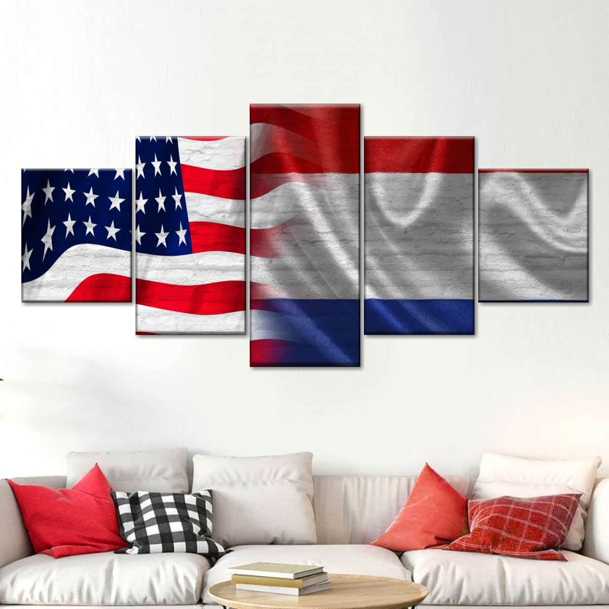 usa and dutch flag multi panel canvas wall art