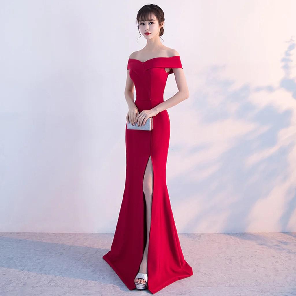 Long Prom Dresses Shoulder Satin Party