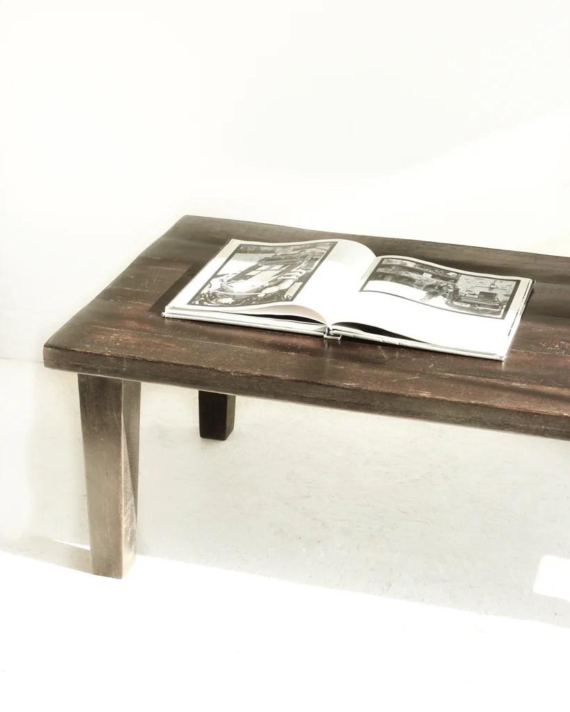 Minimal Reclaimed Wood Rustic Coffee Table Black The Gerdu