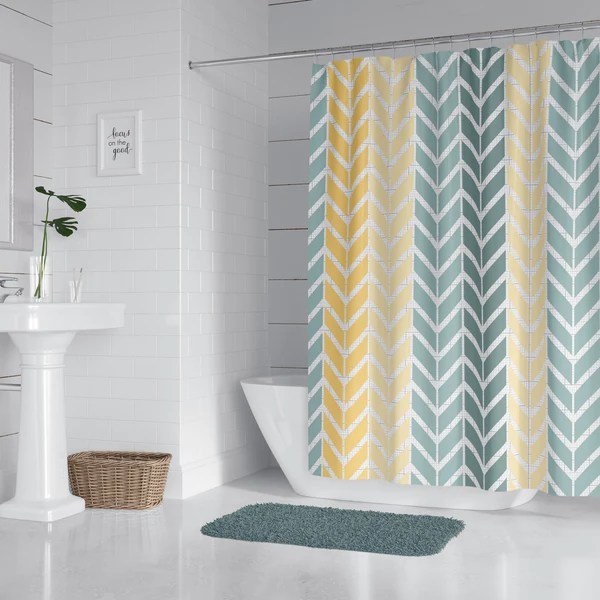 blue and yellow chevron shower curtain