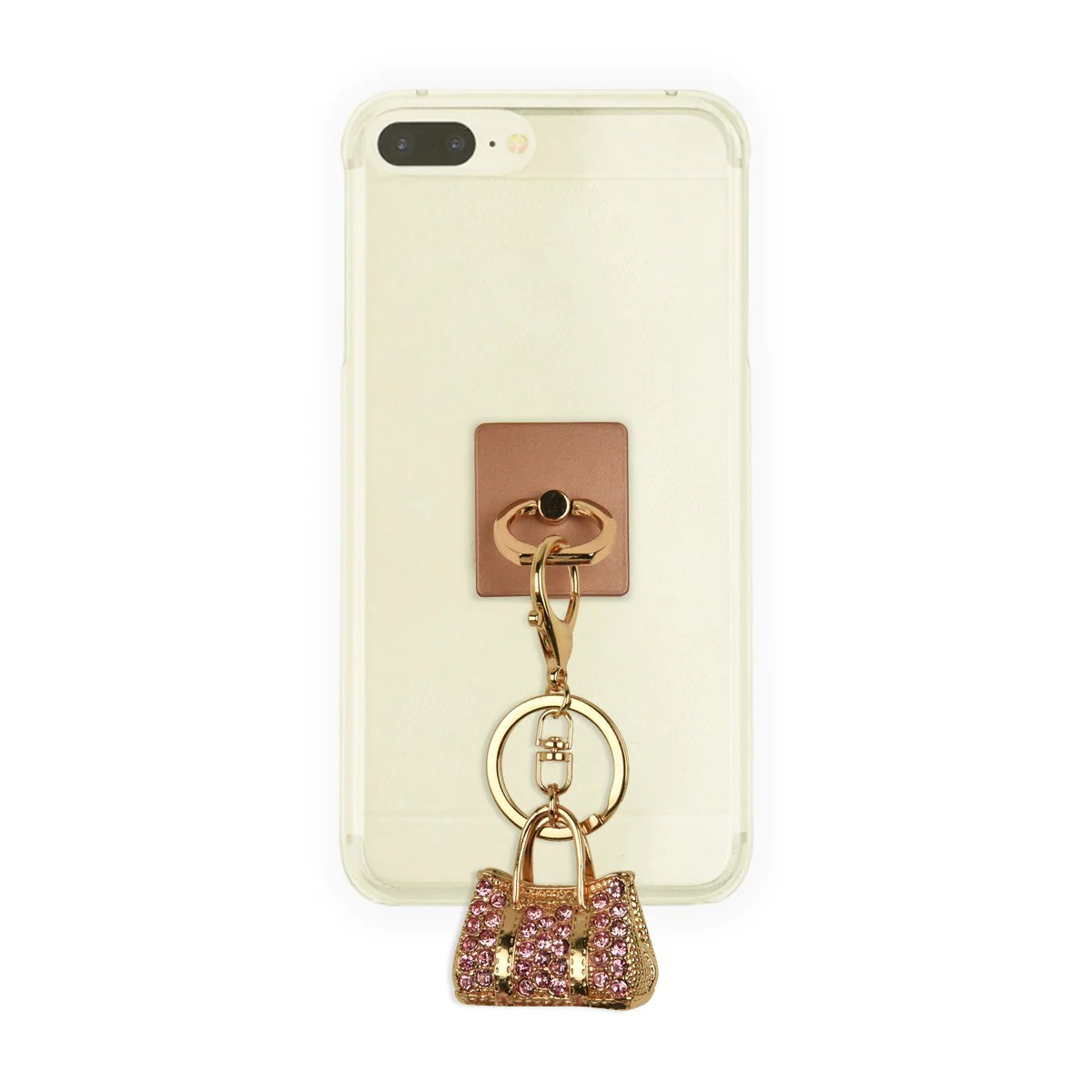 Iorigin Ring Grip Kick Stand Gold Bag With Acrylic Pink Diamonds Key Chain For Mobile Phones Tablets