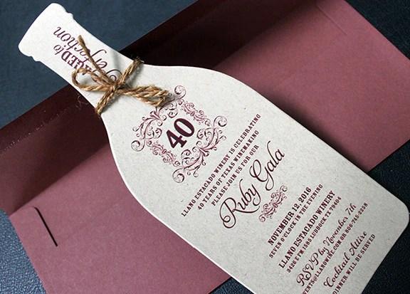 Rustic Wine Party Invitation  40th Birthday Invitation