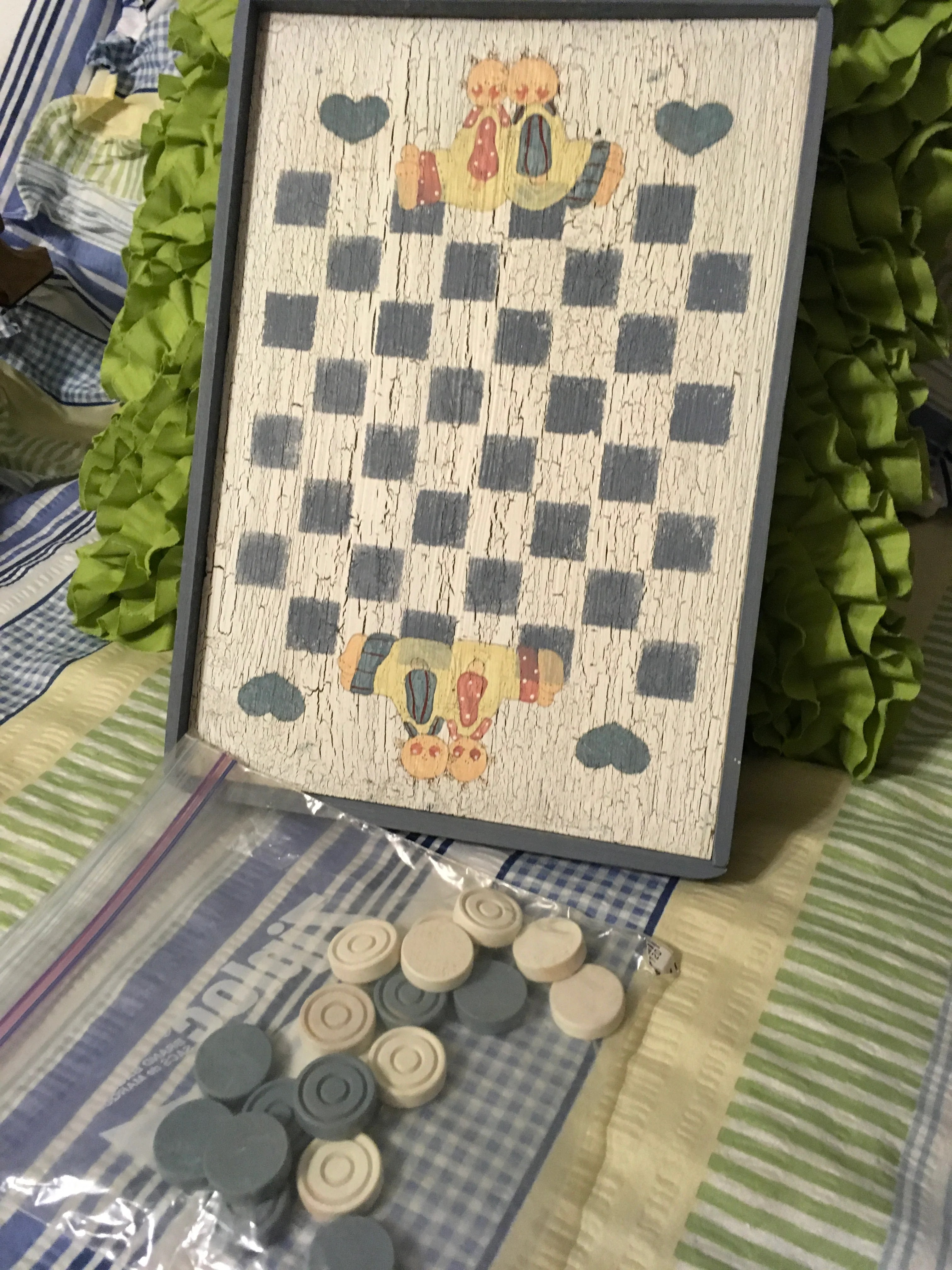 Checkerboard Small Vintage Handmade Hand Painted By My Dad Wall Art Wall Hanging Home Country Decor